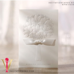 Tree Of Love Wedding Invitation Card with ribbon WFWIV009 is now available at invitationsng.com. Call 08173093902