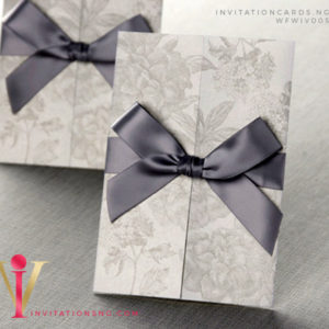Love Ties Fold Invitation Card with ribbon WFWIV005 is now available at invitationsng.com. Call 08173093902