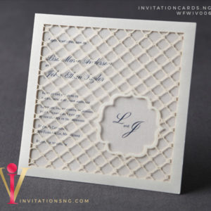 Elegant Lasercut Invitation Card WFWIV006 is now available at invitationsng.com. Call 08173093902