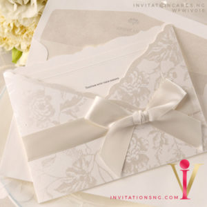 Elegant Pocket Wedding Invitation Card with ribbon WFWIV016 is now available at invitationsng.com. Call 08173093902
