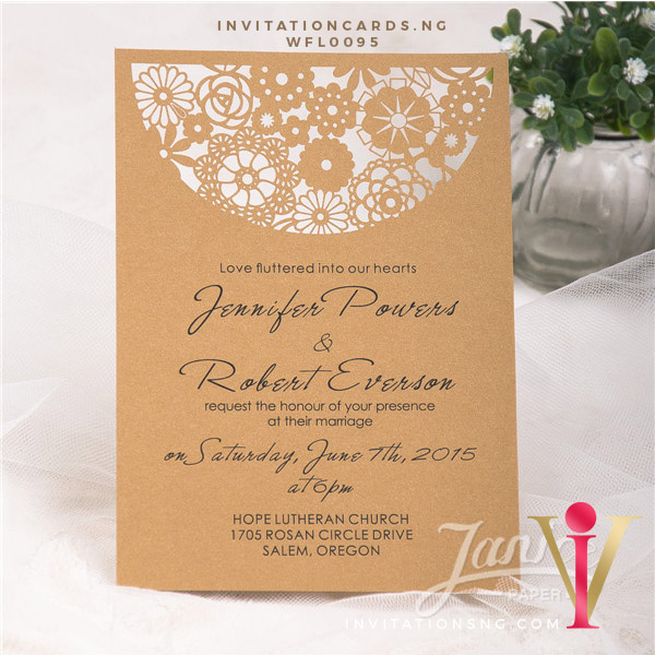 Flat Laser Cut Invitation Card WFL0095 is now available at invitationsng.com. Call 08173093902