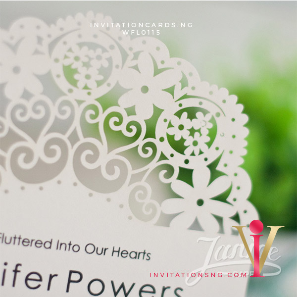 Flat Laser Cut Invitation Card WFL0115 is now available at invitationsng.com. Call 08173093902
