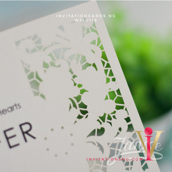Flat Laser Cut Invitation Card WFL0118 is now available at invitationsng.com. Call 08173093902
