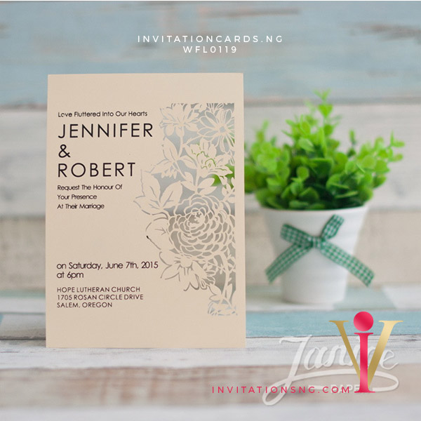 Flat Laser Cut Invitation Card WFL0119 is now available at invitationsng.com. Call 08173093902