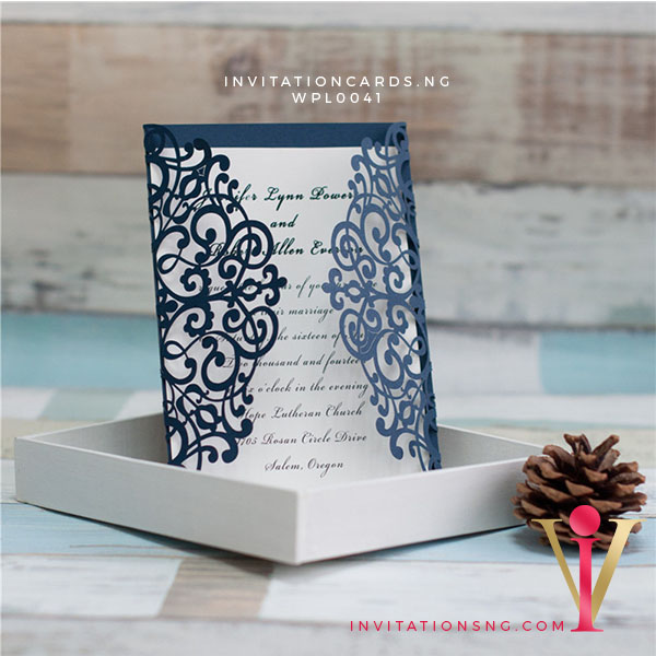 Ornamental Laser Cut Invitation Card WPL0041 is now available at invitationsng.com. Call 08173093902