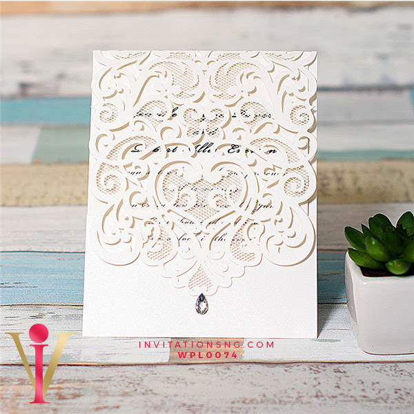 White Laser Cut Diamond Invitation Card WFL0074 is now available at invitationsng.com. Call 08173093902