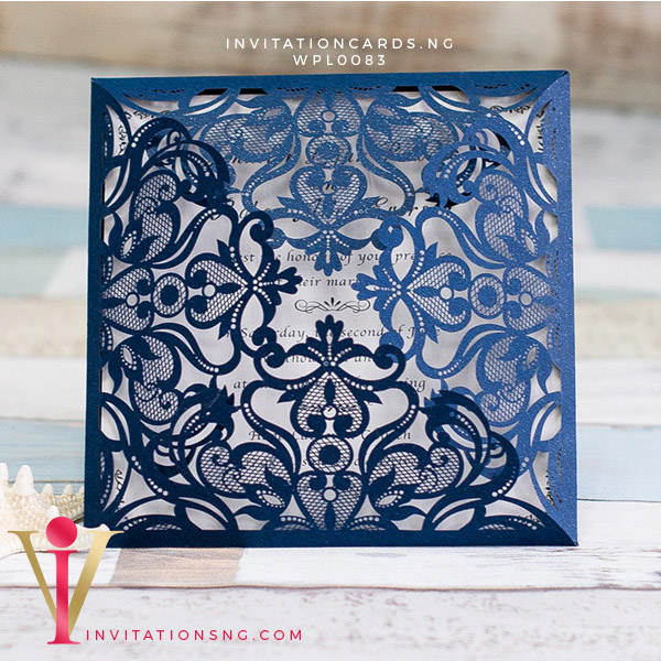 Navy Blue Floral Laser Cut Invitation Card WPL0083 is now available at invitationsng.com. Call 08173093902