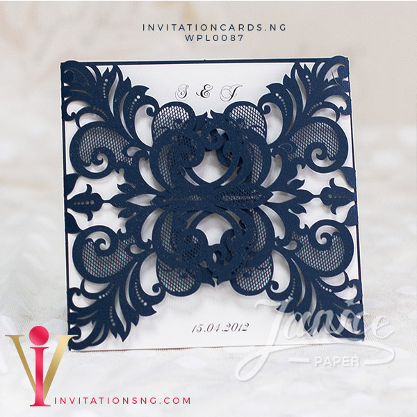 Navy Blue Lace Laser Cut Invitation Card WFL0087 is now available at invitationsng.com. Call 08173093902