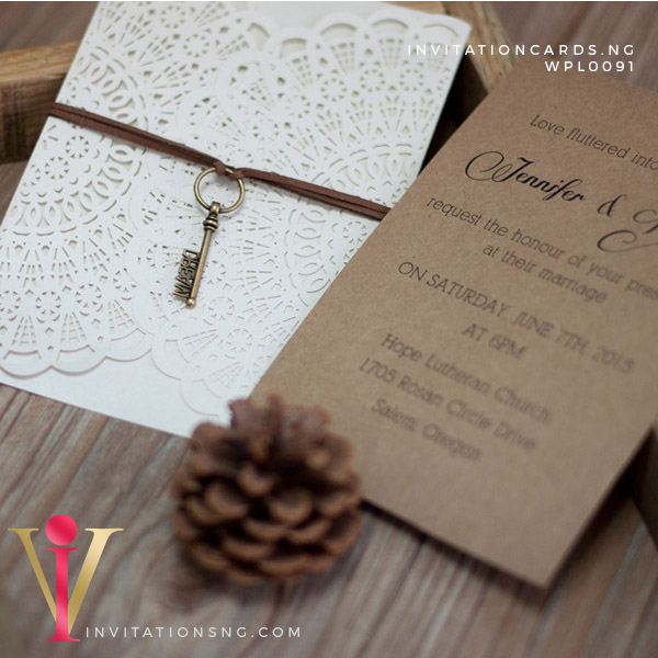 Ornamental Laser Cut Invitation Card WPL0091 is now available at invitationsng.com. Call 08173093902