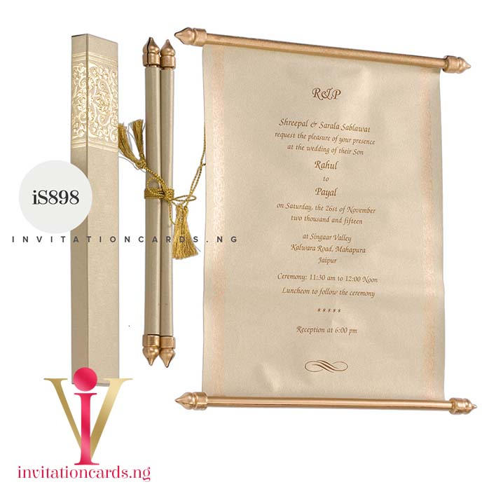 Indian Scroll Invitation S898 now available in Nigeria at invitationsng.com