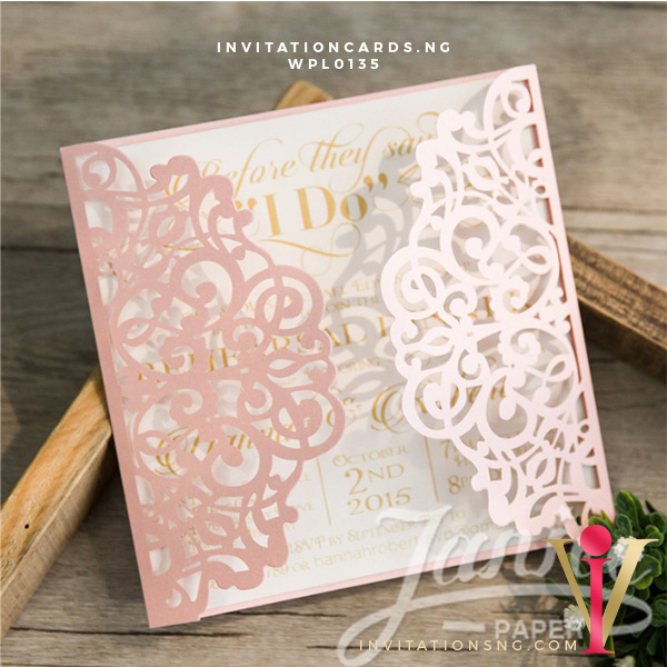 Elegant Floral Laser Cut Wedding Invitation Cards WPL0135 available at invitationsng.com. Call 08173093902